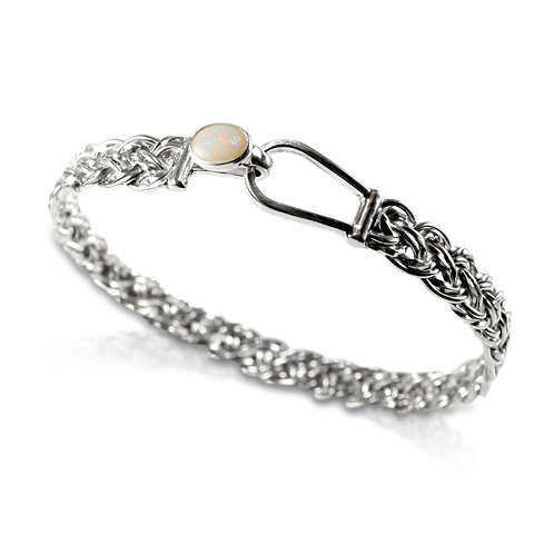 925 Sterling Silver Diagonal Basket Weave Bracelet with Opal Set Clasp