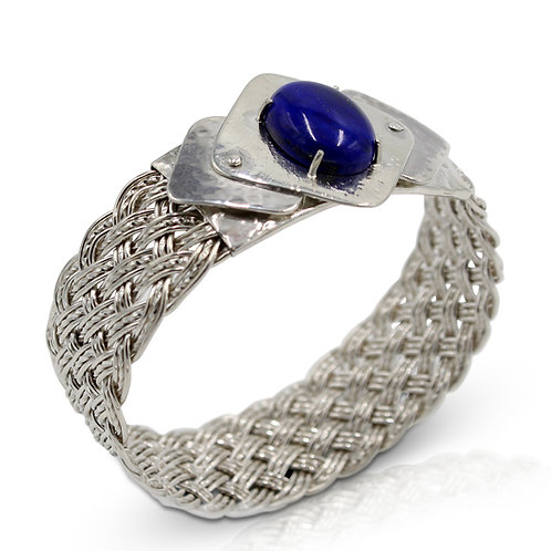 925 Sterling Silver Diagonal Basket Weave Wide Bangle with Lapis Lazuli