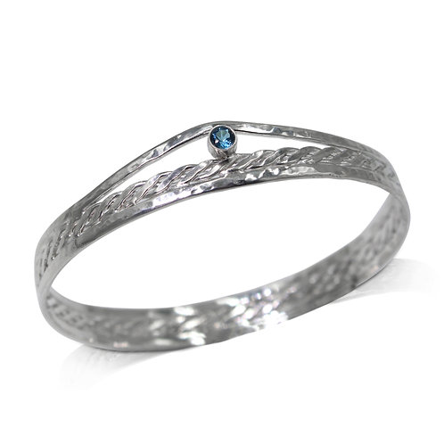 925 Sterling Silver Woven Centre Bangle with London Blue Topaz