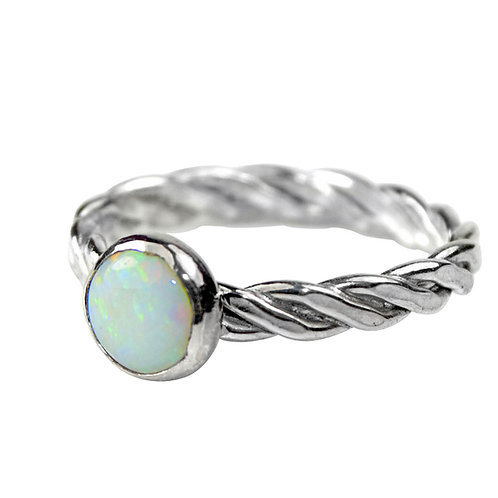 925 Sterling Silver Twist Weave Band Ring with A Grade White Opal