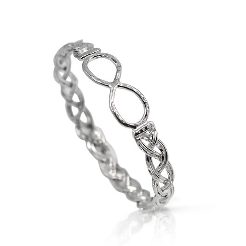 925 Sterling Silver Woven Bangle with Infinity Symbol