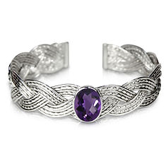 Sterling silver woven cuff with oval amethyst