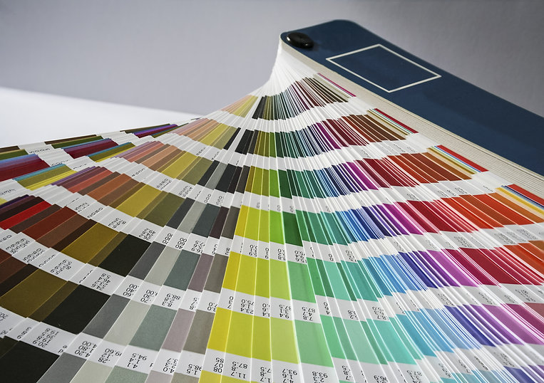 Pantone colour book fanned out