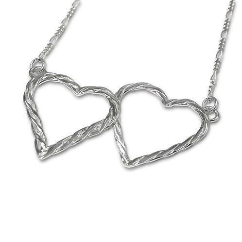 Sterling Silver Twist Weave Double Heart Pendant on Figaro Chain