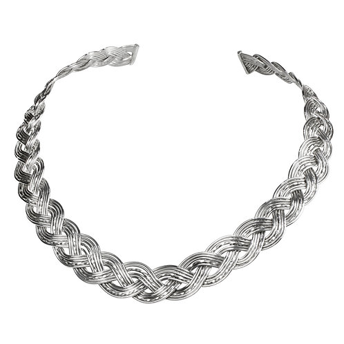 925 Sterling Silver Woven Three Strand Celtic Torque Necklace