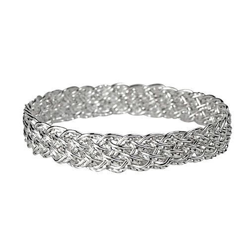 925 Sterling Silver Diagonal Basket Weave Bangle