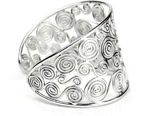 925 Sterling Silver Spirals Cuff Bracelet, Celtic
