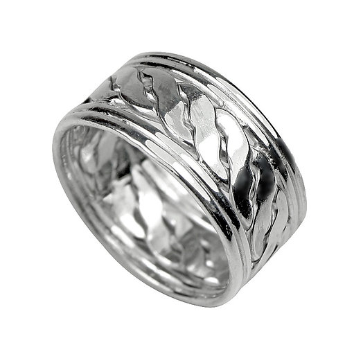 925 Sterling Silver Woven Celtic Band Ring 11mm Deep