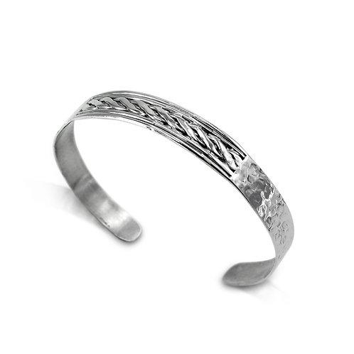 Mans Sterling Silver Half Woven Hammered Celtic Cuff Bracelet