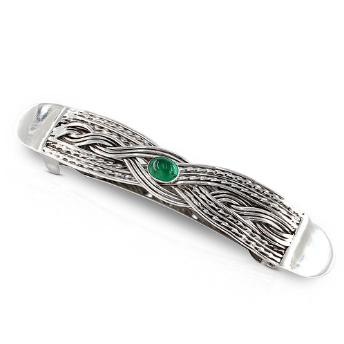 Sterling Silver Double Twist Woven Hair Barrette with Emerald