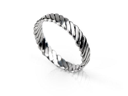 925 Sterling Silver Twist Weave Ring 4mm Deep - Tight Weave
