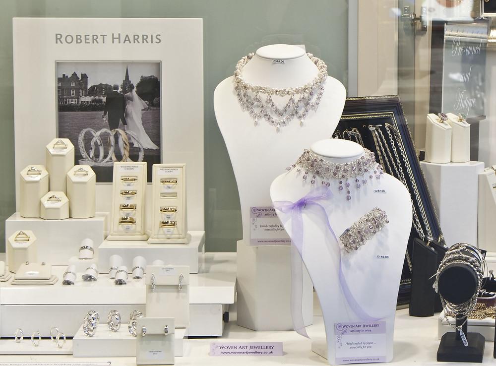 Woven Art Bridal Range on display in Robert Harris window.jpg