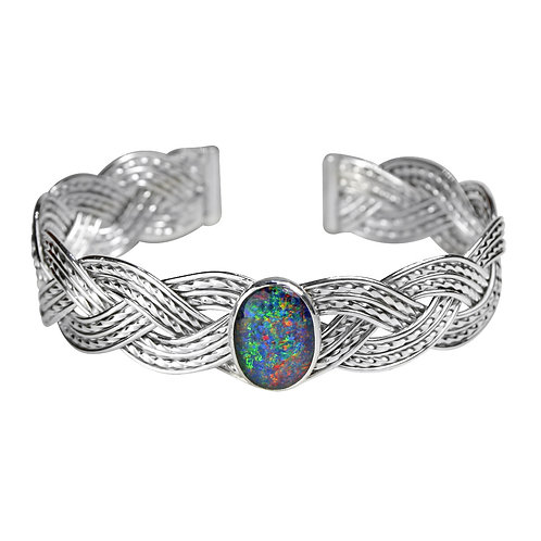 925 Sterling Silver Three Strand Woven Cuff with Australian Opal Triplet