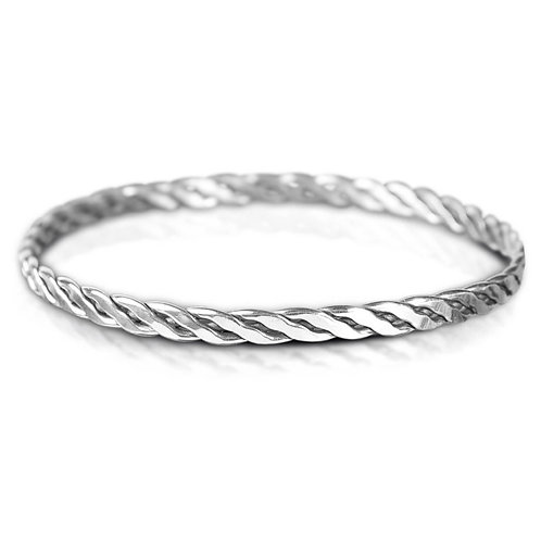 925 Sterling Silver Twist Weave Bangle Bracelet