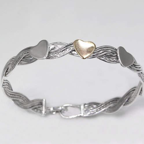 Sterling Silver and 9ct Gold Woven Wave Hearts Bracelet