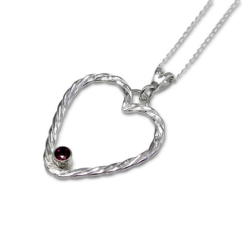 Sterling Silver Twist Weave Heart Pendant with Ruby