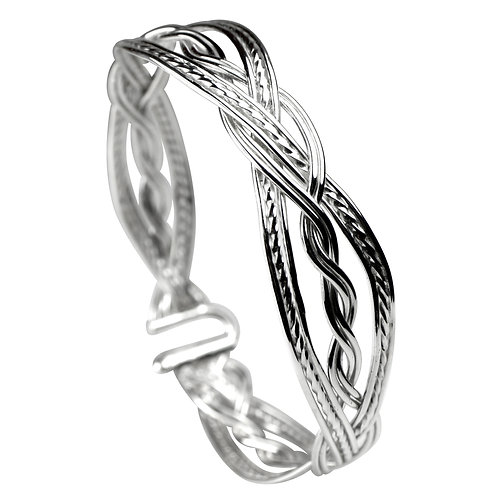925 Sterling Silver Woven Double Twist Bracelet - Narrow