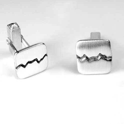 Sterling Silver Fractured Square Cufflinks