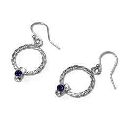 E4 - Woven round twist weave earrings with tube set 4mm iolites lying NEW 2.jpg