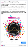 Facebook post for Mobile Care celebrating 23 years of business