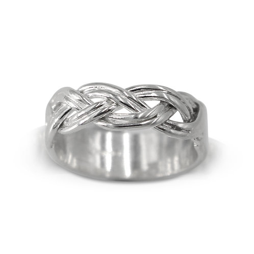 925 Sterling Silver Half Woven Band Ring, Celtic