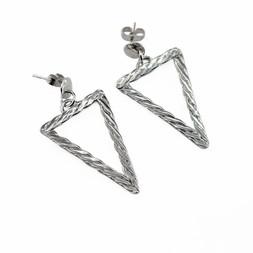E5 - Silver Twist Weave Triangle Earrings with ear posts.jpg
