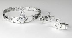 Custom made Claddagh bangle and cufflinks
