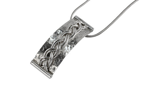 Sterling Silver Woven Rectangular Curved Pendant on Sterling Silver Snake Chain