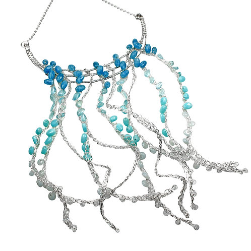 925 Sterling Silver Crocheted Sea Goddess Necklace with Amazonite & Aquamarine