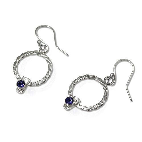 925 Sterling Silver Twist Weave Circle Earrings with Iolites
