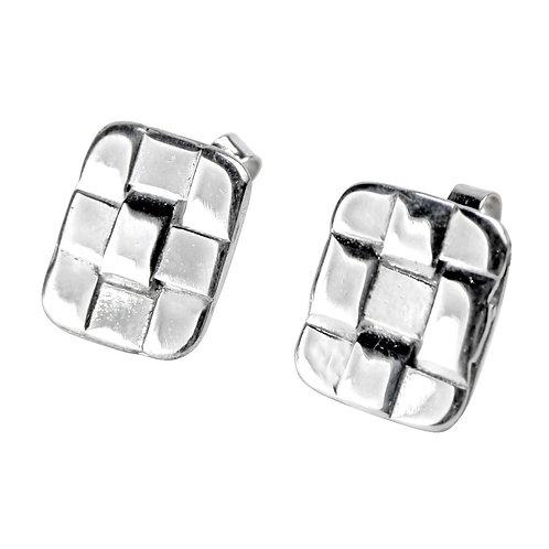 925 Sterling Silver Rectangular Woven Stud Earrings