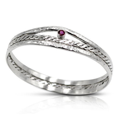925 Sterling Silver Woven Centre Bangle with Ruby