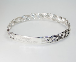 Personalised sterling silver medical alert bracelet