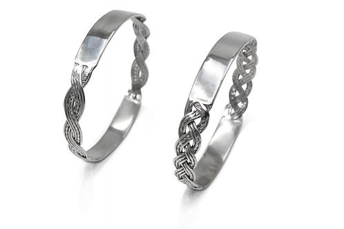 925 Sterling Silver Woven Personalised Bangle - Choice of weave and message