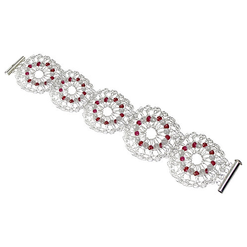 925 Sterling Silver Crocheted Circles Bracelet with Faceted Rubies and Quartz