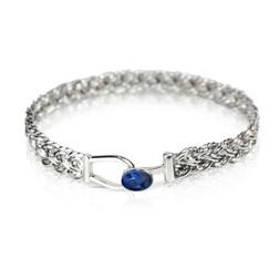B54 - Diagonal basket weave bracelet with oval sapphire set loop clasp front view PROMO.jp