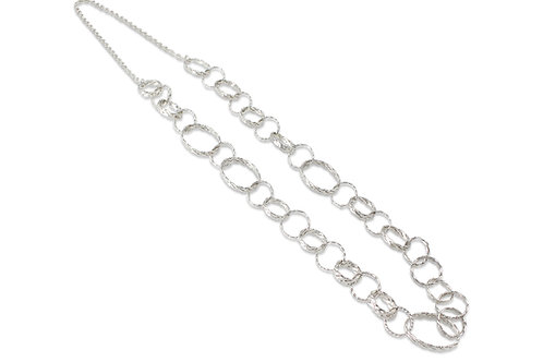 925 Sterling Silver Twist Weave Circles and Ovals Long Necklace