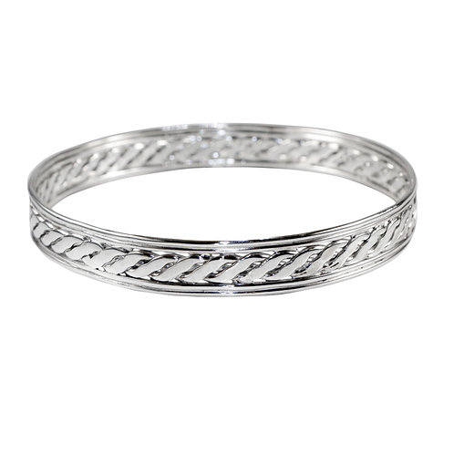 925 Sterling Silver Celtic Bangle with Twist Weave Centre