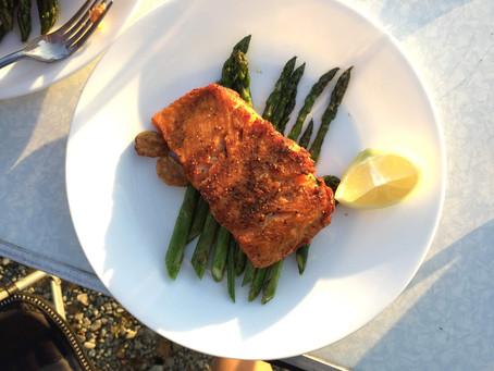 Lemon Crusted Pan-Fried Salmon with Asparagus