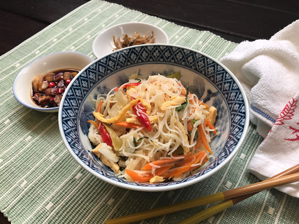 One-pan Cooking : Fried Vegetarian Rice Noodles