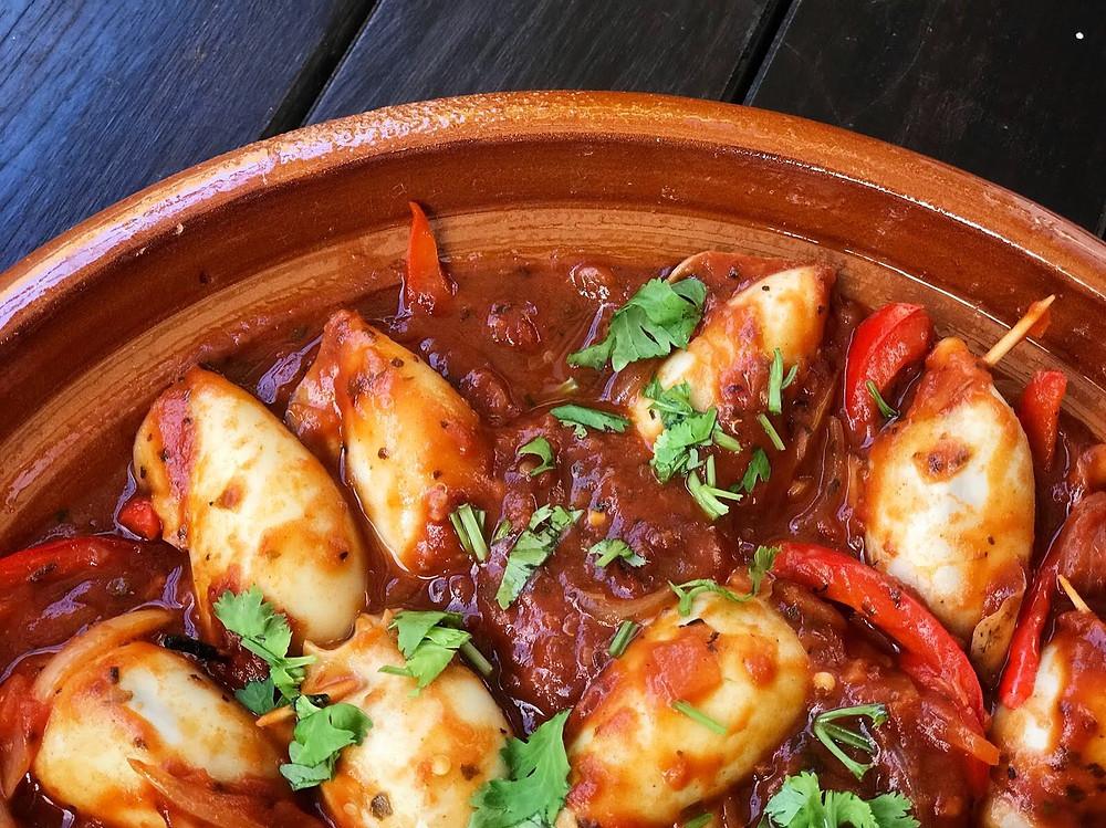 Alycooks- Quinoa & Shrimp Stuffed Squids in Tomato & Bell Pepper Sauce