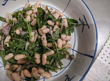White Bean & Arugula Salad with Garlic Caper Vinaigrette