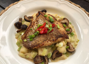 Pan Fried Fish with Creamed Leeks & Potatoes