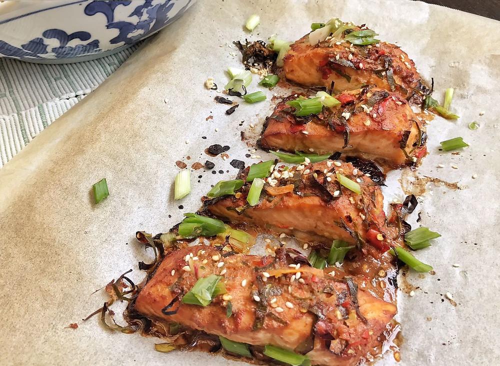 Thai Baked Salmon With Kaffir Lime Marinade