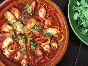 Quinoa & Shrimp Stuffed Squids in Tomato & Bell Pepper Sauce