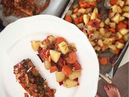 One Pan Salmon and Rosemary Potatoes