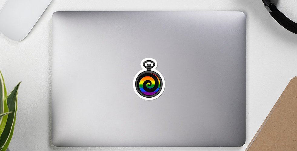 Gay Pocketwatch Pride Sticker (Black)
