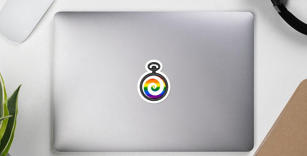Gay Pocketwatch Pride Sticker (White)
