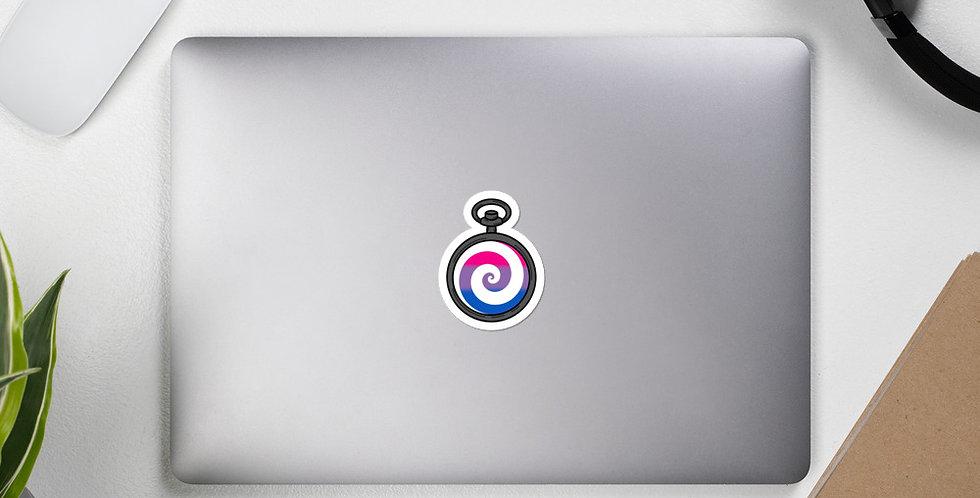 Bi Pocketwatch Pride Sticker (White)