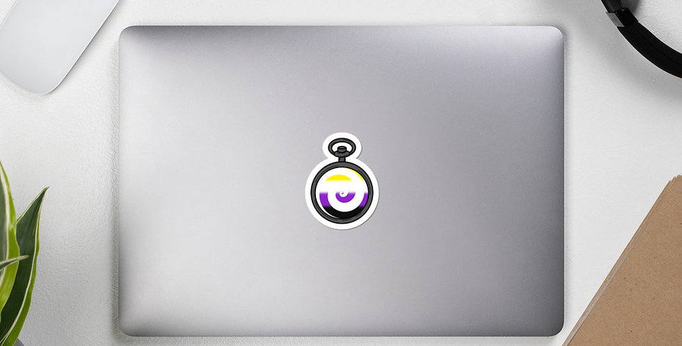 Nonbinary Pocketwatch Pride Sticker (White)